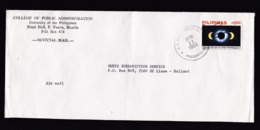 Philippines: Cover To Netherlands, 1989, 1 Stamp, Total Solar Eclipse 1988, Purple Overprint OB, Rare! (minor Fold) - Filippijnen