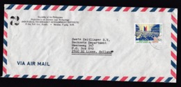 Philippines: Airmail Cover To Netherlands, 1988, 1 Stamp, Congress, Parliament, Democracy, Hammer (traces Of Use) - Filippijnen