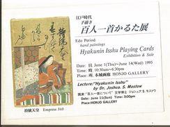 CPM, Japon , Empress Jitô ,Edo Period Hand Painting , Hyakunin  Isshu Playing Cards , 1995 - Tokyo