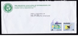 Philippines: Cover To Netherlands, 1996, Strip Of 2 Stamps, Tropical Fish, Sea Life, Animal, Entomology (roughly Opened) - Filippijnen