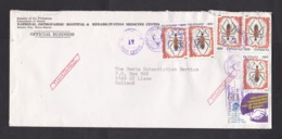 Philippines: Cover To Netherlands, 1988, 6 Stamps, Insect, Beetle, Animal, Dental Congress, Dentist (roughly Opened) - Filippijnen