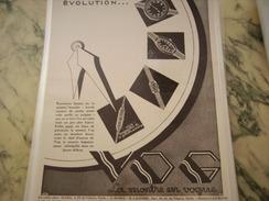 ANCIENNE PUBLICITE MONTRE VOGUE EVOLUTION - Bijoux & Horlogerie