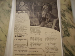 ANCIENNE PUBLICITE MONTRE ZENITH SANS RIVALE - Bijoux & Horlogerie