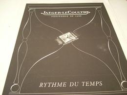 ANCIENNE PUBLICITE MONTRE JAEGER LE COULTRE RYHTME DU TEMPS 1941 - Bijoux & Horlogerie