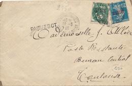 Lettre Blanc Et Semeuse Algérie Griffe Paquebot + Taxe Duval - Algérie (1924-1962)