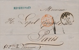 Lettre Genève, Suisse Bellegarde Pour Paris 1861 - 1854-1862 Helvetia (Non-dentelés)