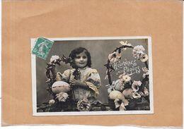 CPA COLORISEE FETE - HEUREUSES PAQUES - Adorable Petite Fille - ROY17/ENCH - - Pâques