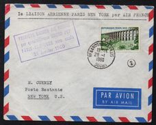 PREMIER VOL AIR FRANCE PARIS - NEW YORK SANS ESCALE /1960 LETTRE DE BESANCON  - FFC - FIRST FLIGHT COVER(ref 7575a) - France