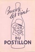 France Buvard Buvez Les Vins Du Postillon ( Pliure ) 20,5 Cm X 13,5 Cm - Buvards, Protège-cahiers Illustrés