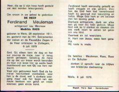 Souvenir Mortuaire MEULEMAN Ferdinand (1911-1978) Geboren Te MERE Overleden Te ZOTTEGEM - Images Religieuses