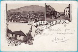 GRUSS Aus TREBINJE - LITHO ( Bosnia And Herzegovina ) * Litography * Travelled 1896. To Krainburg ( Kranj )   RRRR - Bosnia And Herzegovina