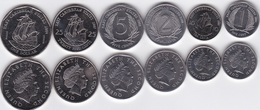 Eastern Caribbean - Set 6 Coins 1 + 2 + 5 + 10 + 25 Cents + 1 Dollar 2004 - 2008 UNC Lemberg-Zp - East Caribbean States
