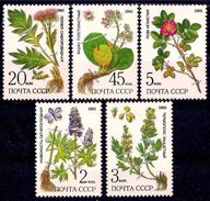 USSR Russia 1985 Protected Plants Siberia Plant Flowers Flower Nature Herbs Health Medical Stamps Michel 5528-5532 - Plants