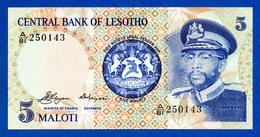 Lesotho 5 Maloti 1981 Pick 5 King Moshoeshoe II - Prefix A - Unc - Lesoto
