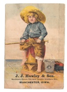 Victorian Trade Card J. J. Haeley & Sons Manchester Iowa Hardware Boy Fishing 1887 - Other