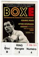 Ticket D'entrée Championnat Du Monde De Boxe - Jean-Marc Renard / Antonio Esparragoza - 2 Juin 1989 - 2 Scans - Boxing