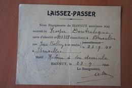 LAISSER PASSER AUSWEIS HANNUT 23 Septembre 1944 - Vieux Papiers