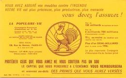 France Buvard Assurances La Populaire-vie 21 Cm X 13,5 Cm - Banque & Assurance
