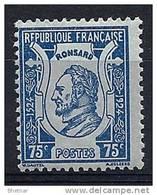 """FR YT 209 """" Pierre De Ronsard 75c. Bleu Sur Azuré """" 1924 Neuf* - France"""