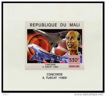Mali 1467 Feuillet Imperforé Avion , Concorde , Commandant Turcat - Concorde