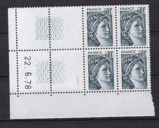 """FR Coins Datés YT 1962 """" Sabine 1c. Gris  """" Neuf** Du 22.6.78 à Gauche - Coins Datés"""