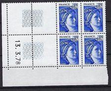 """FR Coins Datés YT 1963a """" Sabine 2c. Bleu-violet GT """" Neuf** Du 13.3.78 à Gauche - Coins Datés"""