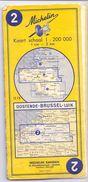 Kaart Belgie Carte Michelin Belgique 2 - Oostende Brussel Luik - Cartes Routières