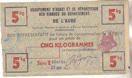 10 Aube. Guerre 39.45. Bon De Consommation De 5 Kilos De Viande.daté 1942. Complet Avec Tampons Officiels. Tb état. - Documents Historiques