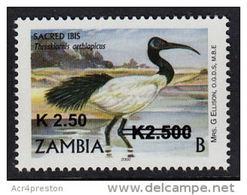 Zm1096 ZAMBIA 2013, New Currency K2.50 On K2,500 Surcharge SG1064 Birds (B) MNH - Zambia (1965-...)