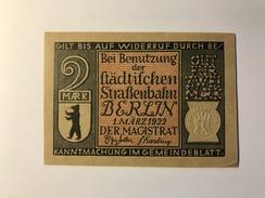 Allemagne Notgeld Berlin 2 Mark - [ 3] 1918-1933 : Weimar Republic