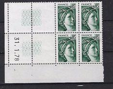 """FR Coins Datés YT 1964 """" Sabine 5c. Vert-noir  """" Neuf** Du 31.1.78 à Gauche - Coins Datés"""