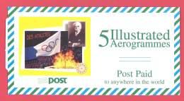 Eire / Irland    5 Illustrated Aerogrammes In Spezial Umschlag  Pierre De Coubertin - Summer 1996: Atlanta
