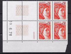 """FR Coins Datés YT 1968 """" Sabine 30c. Orange """" Neuf** Du 19.6.78 à Gauche - Coins Datés"""