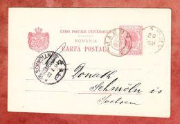 P 42 Koenig Karl, Jassy Nach Schmoelln, AK-Stempel 1904 (40796) - Entiers Postaux