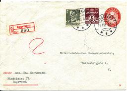 Denmark Uprated Registered Postal Stationery Cover Bagsvaerd 11-7-1953 - Entiers Postaux