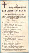 Devotie - Devotion - Jozef Adolf Marie De Meester - Zottegem 1933 - 1941 - Zoontje Van Omer En Hubertine Dubelloy - Overlijden