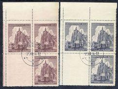 BOHEMIA & MORAVIA 1944 St.Vitus Cathedral Corner Blocks With Blank Labels Used.  Michel 140-41 L - Bohemia & Moravia