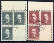 BOHEMIA & MORAVIA 1944 Smetana Corner Blocks With Blank Labels Used.  Michel 138-39 L - Bohemia & Moravia