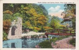 Illinois Joliet Rustic Bridge And Spring House In West Park Curteich - Joliet
