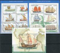 Sierra Leone 1998. Michel #3025/36+Bl.#388 MNH/Luxe. History Of Shipping. (B-03) - Sierra Leone (1961-...)