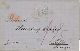 Lettre Russie Moscou Pour Lille France Taxe 1864 - Briefe U. Dokumente