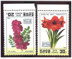 MINT NH STAMPS OF D P R KOREA  3262-3  FLOWERS  TAIPEI 93 - Korea, North