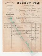 Facture  1885 / BUGNOT Fils / Farine Gruau Orge Perlé / Farine De Gaudes* /Graines De Chanvre Et Chenevis / 39 Dole Jura - France