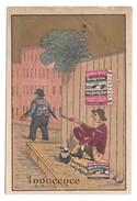 Victorian Trade Card Soapine Kendall Mfg Co Providence RI Soap Innocence Gold Background - Trade Cards