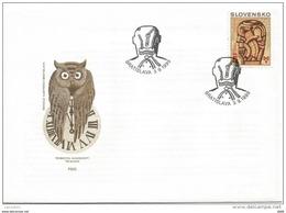 FDC 186 SLOVAQUIE 1999 Mi 346 Yv 303 Biennale Illustration Bratislava Oeuvre De Martin Jarrie Hibou OWL - FDC