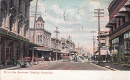 Honolulu Hawaii, Street Scene Business District, Street Car, Auto Horse, C1900s Vintage Postcard - Honolulu