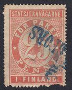 FINLANDIA -  Statsjernvagarne -  Francobollo USATO Da 25 Penni. - Finland