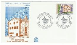 Andorre // FDC // 1980 //  IVeme Centenaire De La Maison Des Vallées - FDC