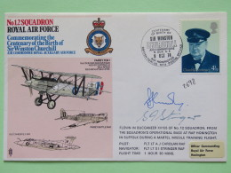 Great Britain 1974 Signed Military Special Cover From Honington To U.K. - Plane - Churchill - Fox - 1952-.... (Elizabeth II)