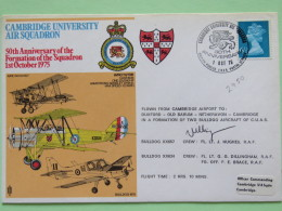 Great Britain 1975 Signed Military Special Cover From Cambridge To U.K. - Plane - Lion / Machin - 1952-.... (Elizabeth II)